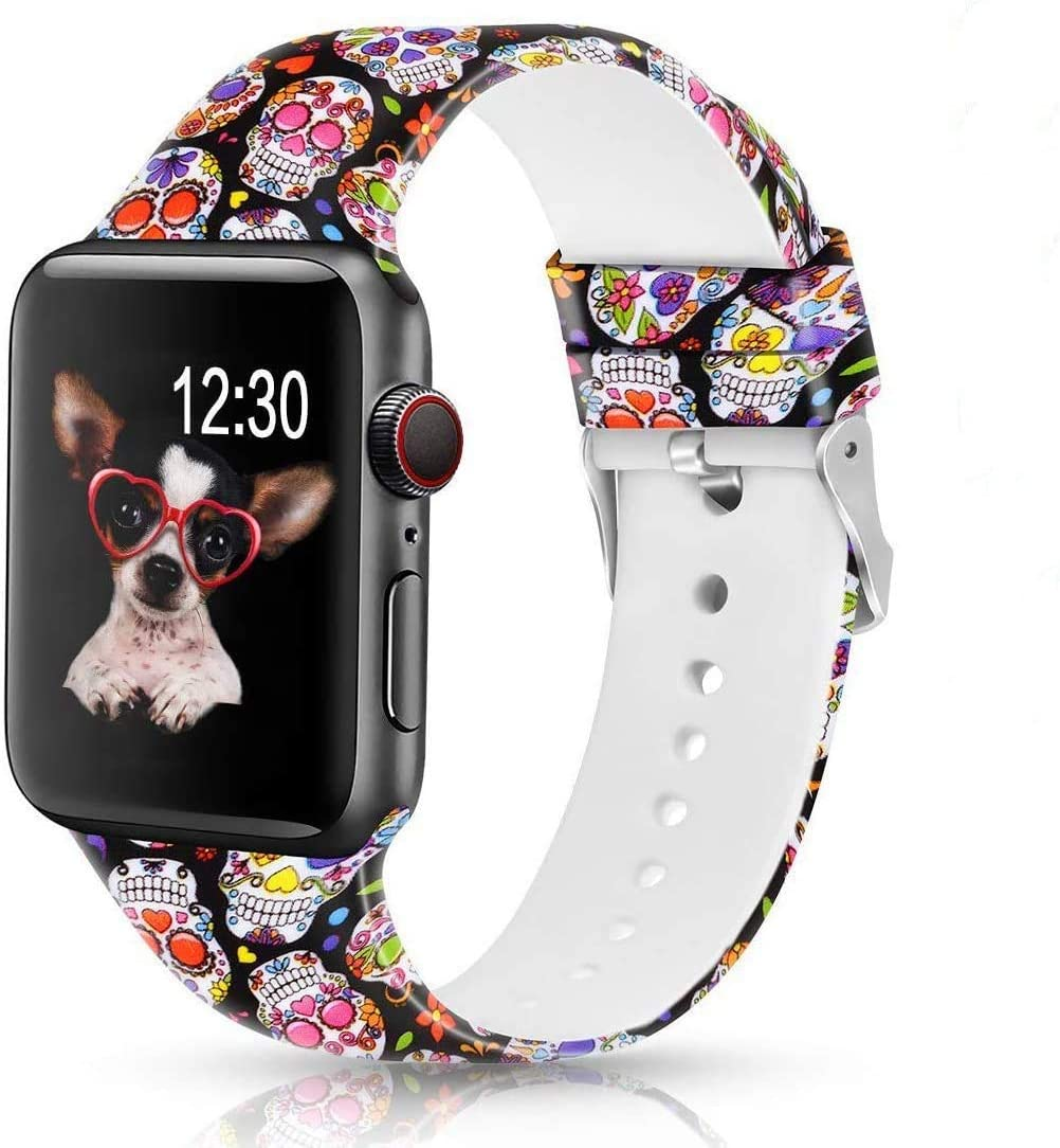 Sunnywoo Floral Bands Compatible with Apple Watch Band 42mm 44mm, Soft Silicone Fadeless Pattern Printed Replacement Sport Bands for iWacth Series 6 5 4 3 2 1, S/M M/L for Women/Men