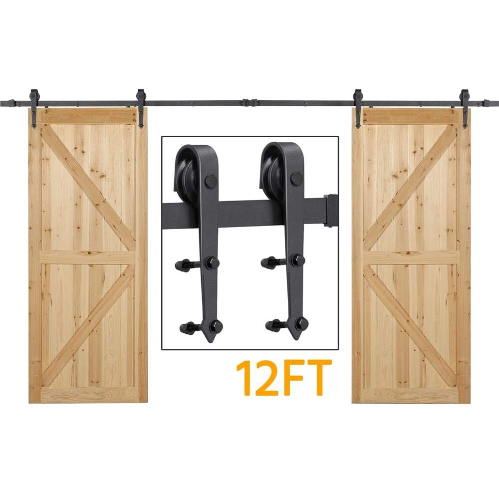 Yaheetech YT-1426 12ft Sliding Barn Hardware for Double Heavy Duty Track Kit-Includes Installation Instruction-Fit up to 36'' Wide Door Panel Black