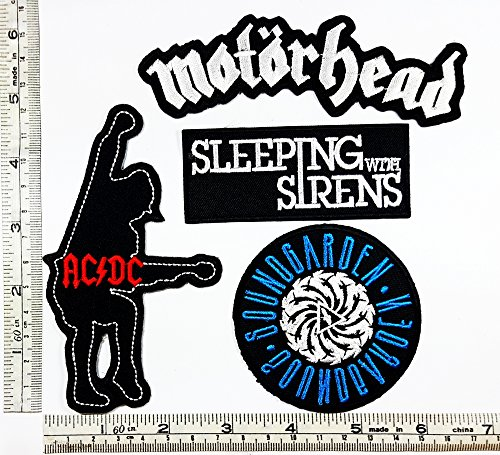 Set Rock music 184 Motorhead Ac Dc Sleeplng with sirens SOUNDGARDEN Heavy Metal Music Punk Band Logo Embroidered Iron on Hat Hoodie Backpack Ideal for Birthday (Siren Costume Diy)
