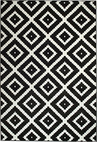 Summit 046 Black White Diamond Area Rug Modern Abstract Many Sizes Available