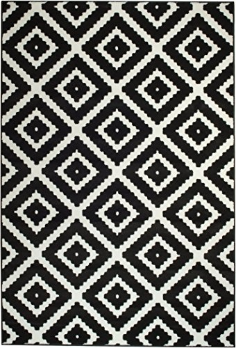 Summit 15-HLY8-UMJB 046 Black White Diamond Area Rug Modern Abstract Many Sizes Available , 22 inch x 7 foot hall way runner