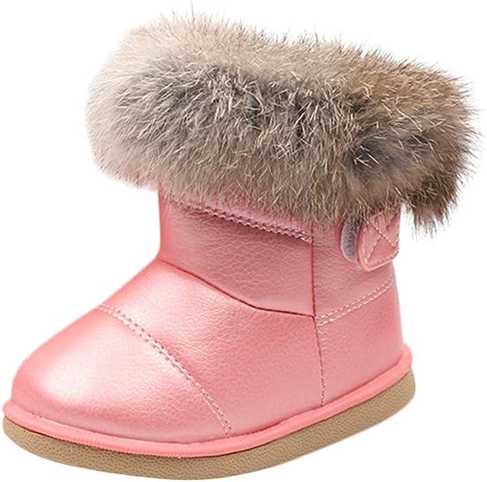 e11f877bb7462 Longra Enfant Garçon Fille Hiver Bootie Chaud Bottes de Neige Cuir Boots  Hiver Bébé Bottes d hiver Fourrure Chaudes Antidérapant Sole Souple  Bottines ...