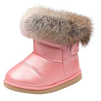 22b93299dcdb6 Longra Enfant Garçons Filles Hiver Bootie Chaud Bottes de Neige Cuir Boots  Hiver Bébé Bottes d
