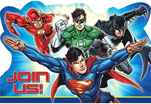 Amazon.com: Justice League Postcard Invitations, Party Favor ...