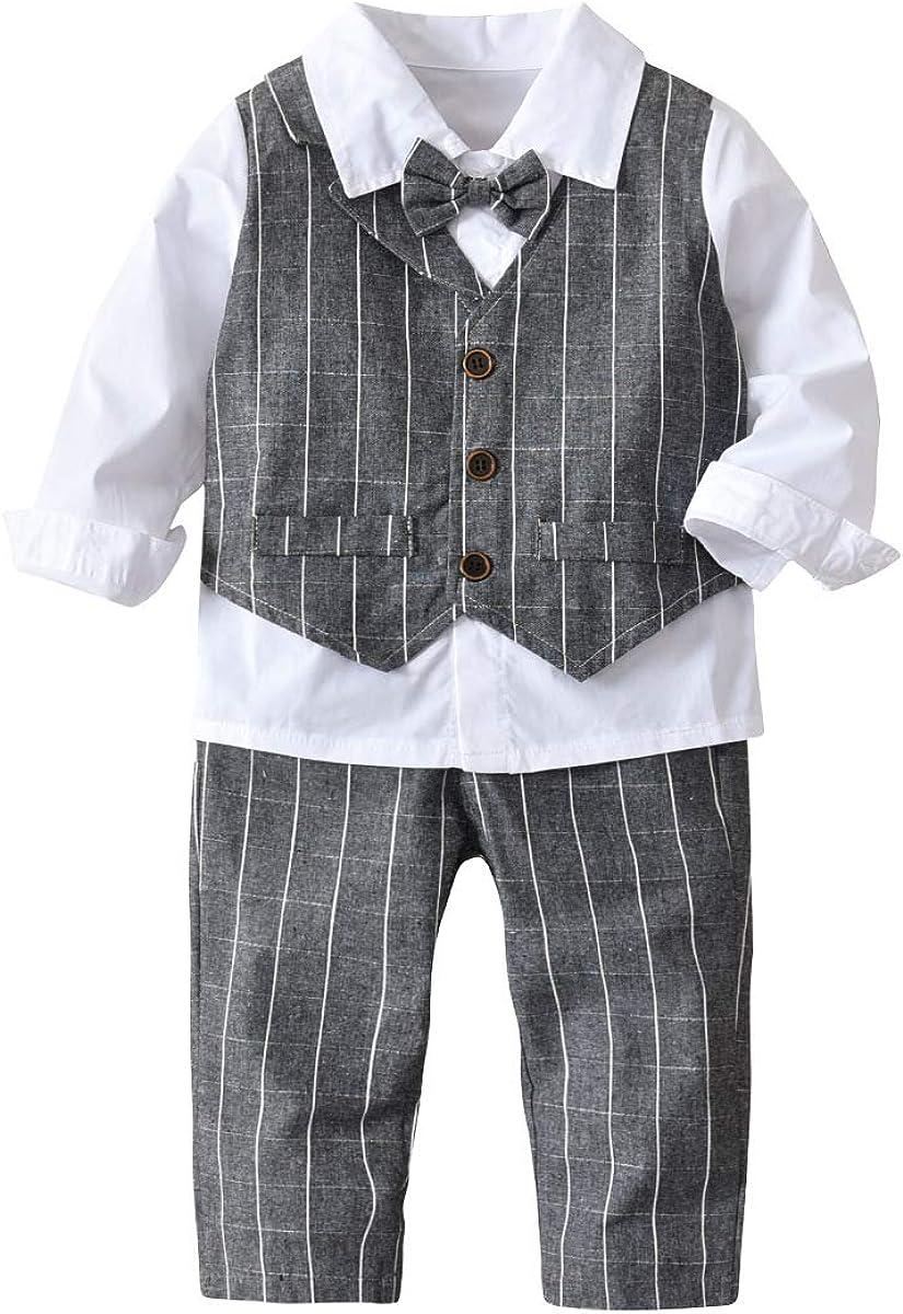 Niños recién nacidos trajes 4pcs rayas camisa blanca + bowtie ...