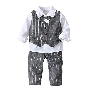 Niños recién nacidos trajes 4pcs rayas camisa blanca + ...