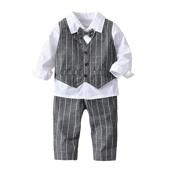 Niños recién nacidos trajes 4pcs rayas camisa blanca + bowtie + ...
