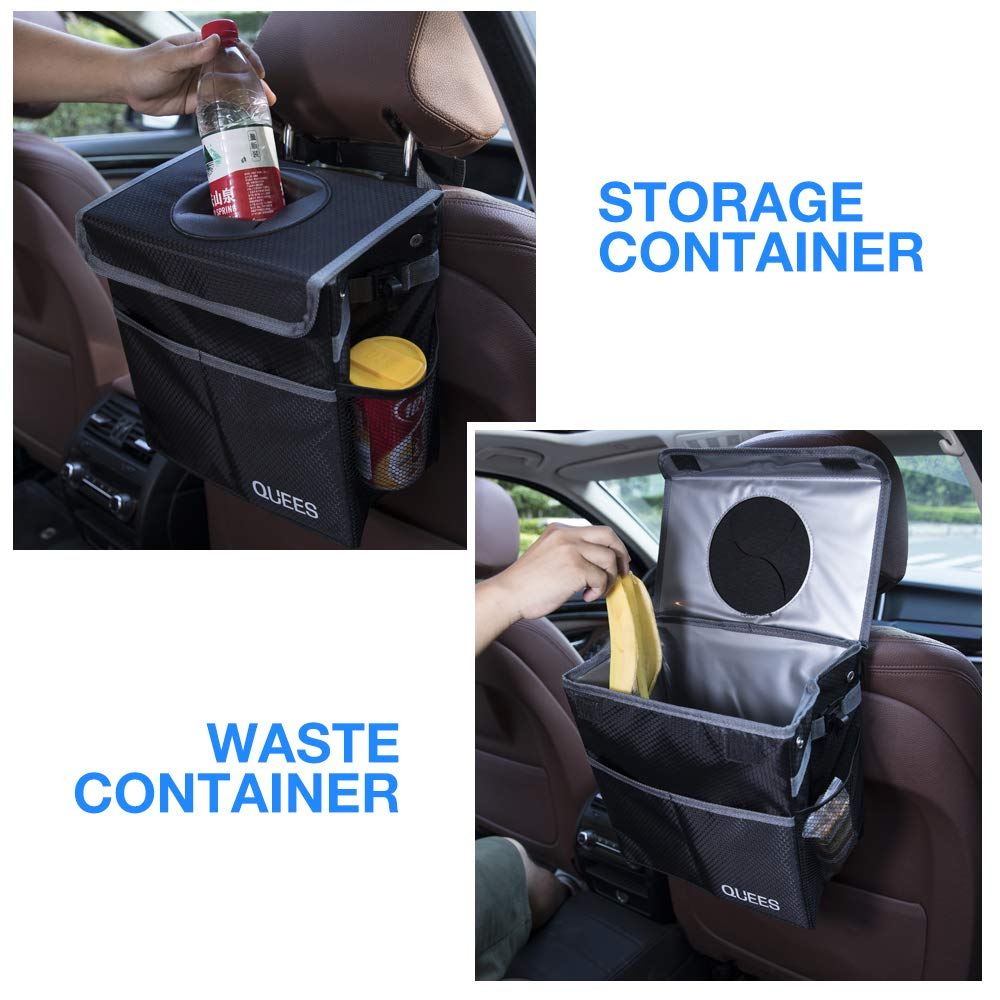 QUEES Car Trash Can with Lid and Storage Pockets Updated Leak-Proof Car Organizer Waterproof Garbage Can Black