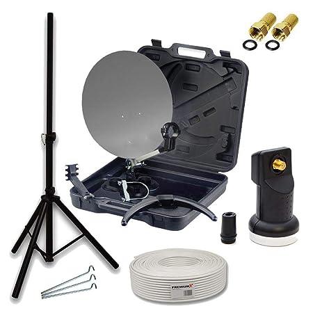 PremiumX HD Camping SAT Koffer Schüssel mit Digital Single LNB 0,1 dB inkl. Wetterschutz + 10m Koax-TV-Kabel mit F-Stecker +