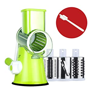 Rotary Cheese Grater Round Mandoline Slicer with 3 Interchangeable Blades, Manual Vegetable Food Shredder with Strong Suction Base by Valuetools (E-book recipe)