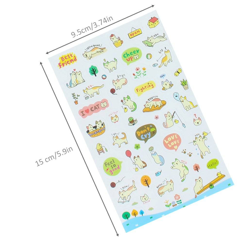Jespekerere Cute Stickers Cartoon Cat DIY Album Daily Planner Diary Scrapbook Mobile Phone Decorative Stickers 6 Pieces Kids Children Toys