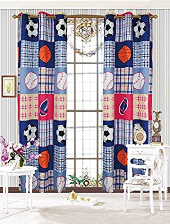 MK Home Mk Collection 2 Panel Curtain Set with Grommet Boys Sport Football Basketball Baseball Dark Blue New