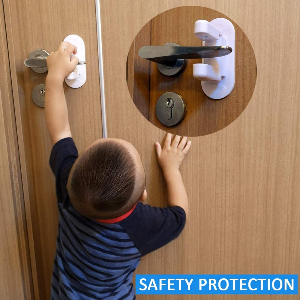 12x5x7cm LINVINC Topes para Puertas Proteccion Bebes Casa Cierres de Seguridad para Beb/é para el Dormitorio//Cocina//Balc/ón Blanco 2 piezas Cierres de Protector de Puerta con Adhesivo Fuerte