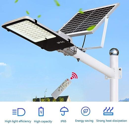 Farola Solar De 100W-Al Aire Libre Proyector Solar LED IP65 A Prueba De Agua, Con Soporte Ajustable/Control Remoto Iluminación De Seguridad De Anochecer A Amanecer Para Jardín, Entrada De Auto: Amazon.es: Iluminación