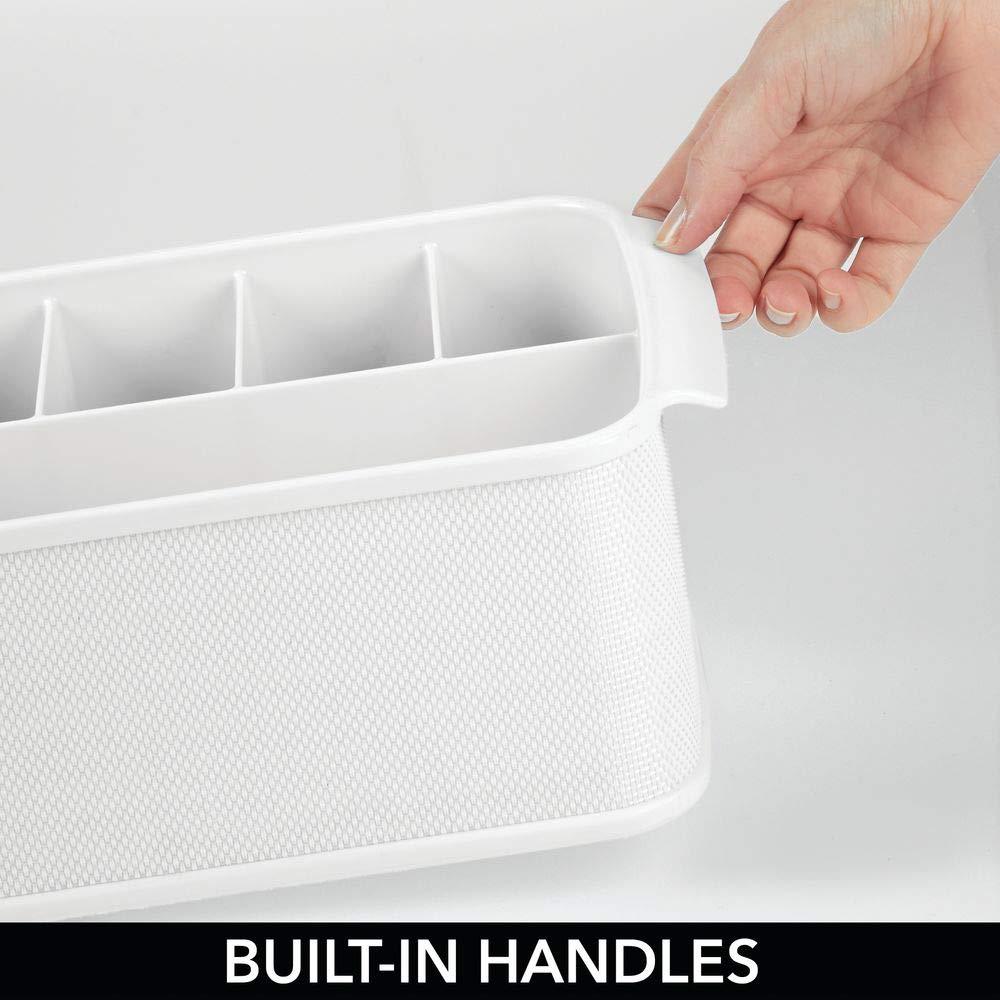 Bandeja para cubiertos con 5 compartimentos blanco Decorativo cesto portacubiertos para cocina comedor jard/ín o para ir de picnic mDesign Cubertero con asas