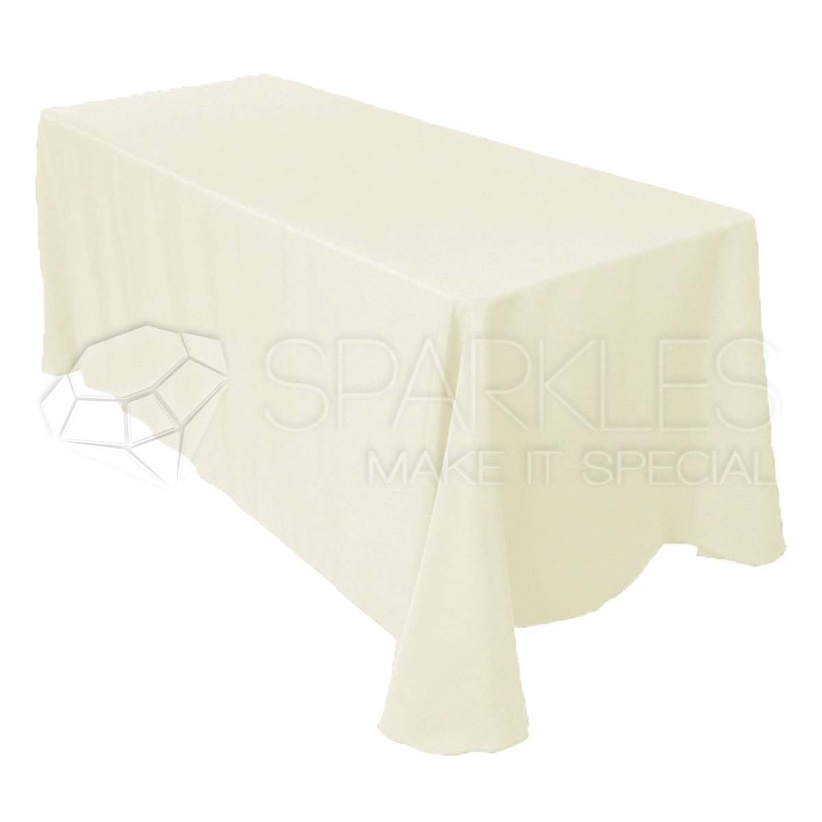 Sparkles Make It Special 10-pcs 90'' x 156'' Inch Rectangular Polyester Cloth Fabric Linen Tablecloth - Wedding Reception Restaurant Banquet Party - Machine Washable - Choice of Color - Ivory