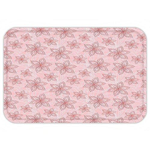 Pinks Purse Corsage (VROSELV Custom Door MatGarden Big Hand Drawn FlowerPattern Spring Nature Bridal Wedding Theme Corsage Light Pink Red White)