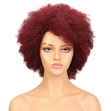 QVR 99J Wine Red Brungy Color Wigs Brazilian Afro Curly None Lace Front Wigs  for Black 3f4446d444