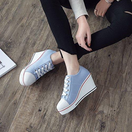 de Deporte Mujer Claro Lona Zapatillas de Zetiy Azul 7awUvv