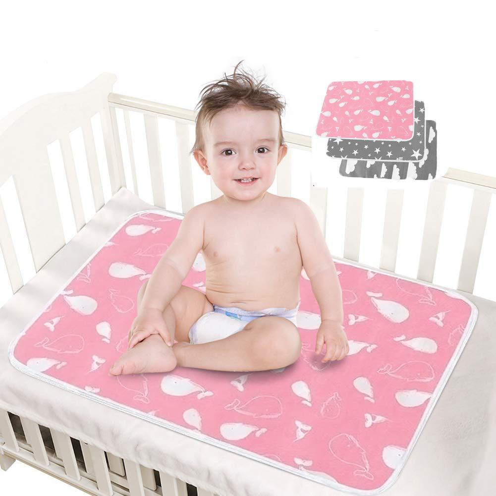 Wiederverwendbare Urin Matte Abdeckung Atmungsaktiv Wasserdicht 50x 70 cm HahaGo 3PCS Waschbar S/äugling Wickelunterlage f/ür Babys und Kleinkinder
