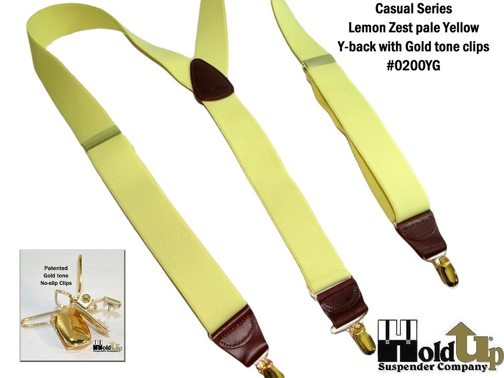 Hold-Ups Lemon Yellow Suspenders 1 1/2'' wide in Y-back with No-slip Gold Clips by Hold-Up Suspender Co. (Image #6)