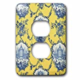 3dRose lsp_218087_6 Garden French Yellow and Blue. Popular Toile Print. 2 Plug Outlet Cover