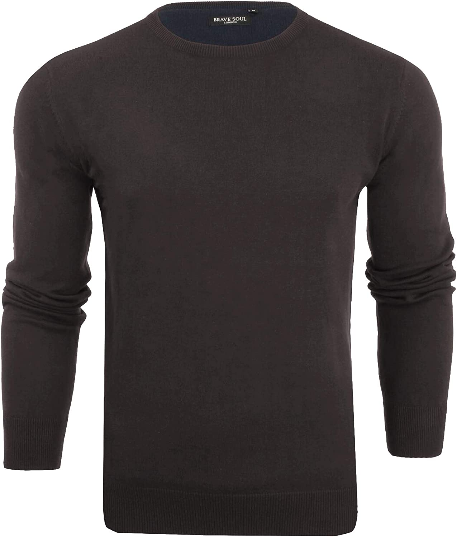 Brave Soul Mens Jumper Long Sleeve Light Knit Crew Neck Sweater Jersey XL L M S
