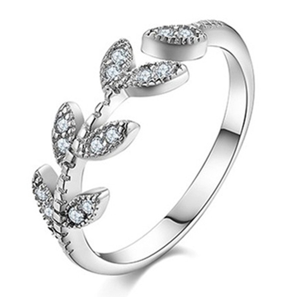 925 Silver Plated innovative Cubic Zirconia Elegant Leaf Women Open Band Ring, Adjustable Chengukeji CYKJ84