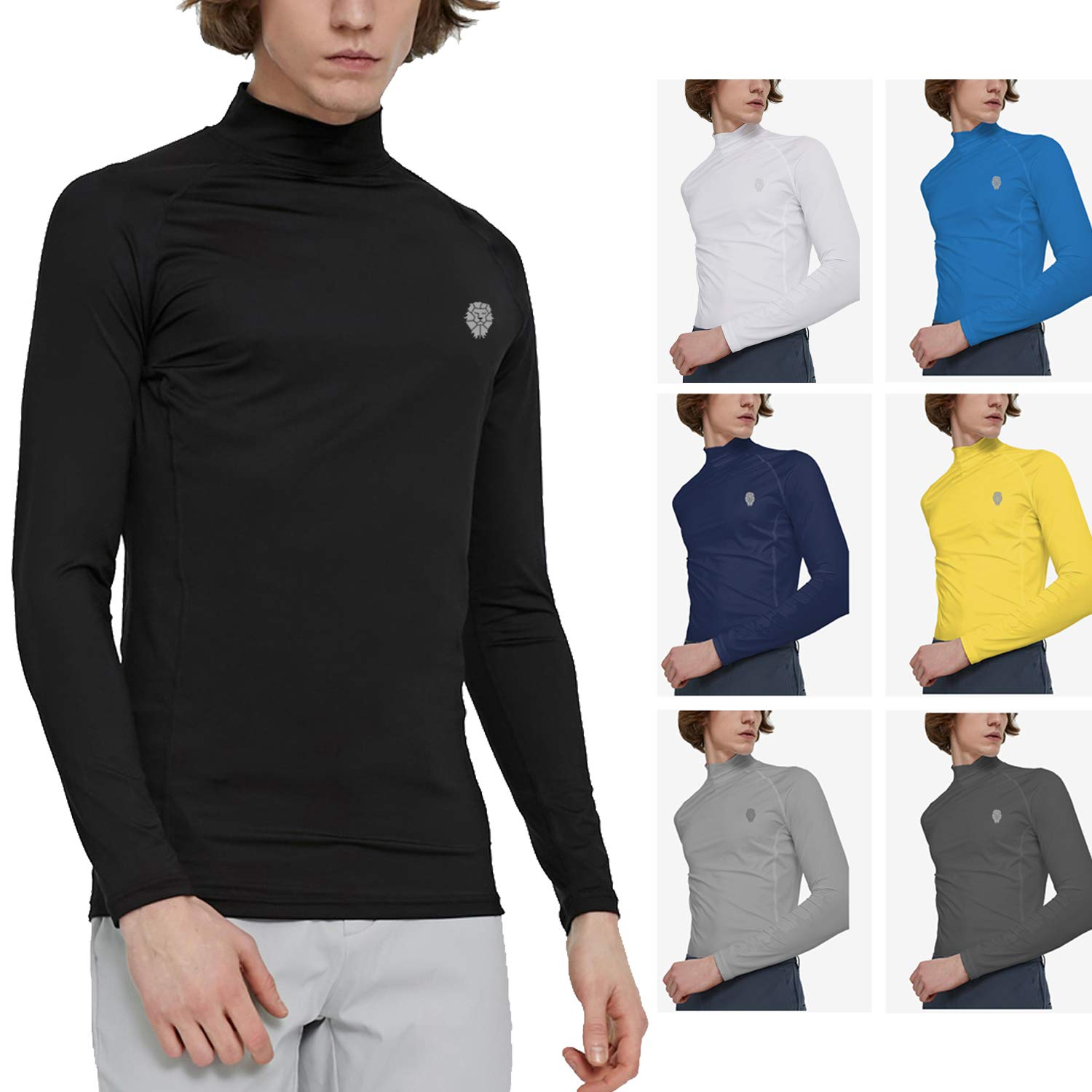 Men's Thermal Winter Gear Compression Baselayer Mock Neck Long Sleeve Shirts L Black by PIQIDIG