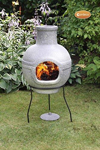Neu Cozumel Granit Effekt Grill Grill Ton Terrassenofen Holz Brenner