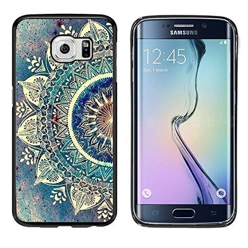 Galaxy S6 Edge Plus Case, Laser Technology for Protective Samsung Galaxy S6 Edge Plus Case Black DOO UC (TM) - Beautiful blue green Mandala retro dream
