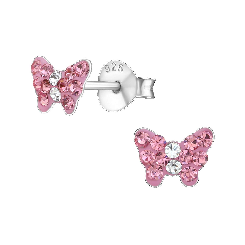 Laimons Boucles doreilles pour fille en argent sterling 925 avec papillons et roses brillantes