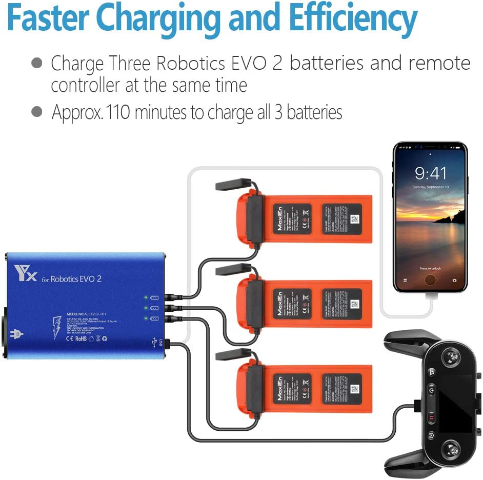 Hanatora Battery Charger for Autel Robotics EVO 2/II, EVO II Pro,EVO II Dual Drone and Remote Conteller,Rapid Multi Parallel Charging Hub Accessories: Toys & Games