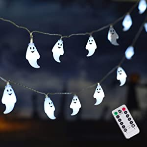 ILLUMINEW 25 LED Halloween White Ghost String Lights, 8 Modes Fairy String Lights, Battery Operated Halloween Lights with Remote, Waterproof Indoor Outdoor Party, Patio, Garden, Halloween Decoration