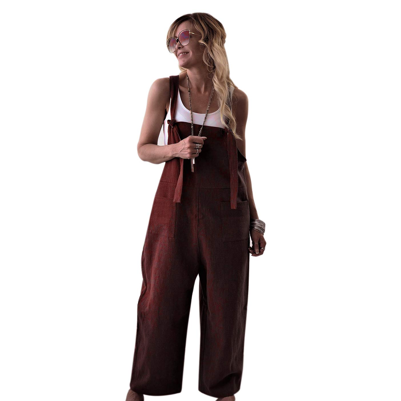 f2061122480 TOOGOO Moda Para Mujer Sólido Color Sólido Bolsillos Correas Mono Casual  Algodón Lino Sin Mangas de ...