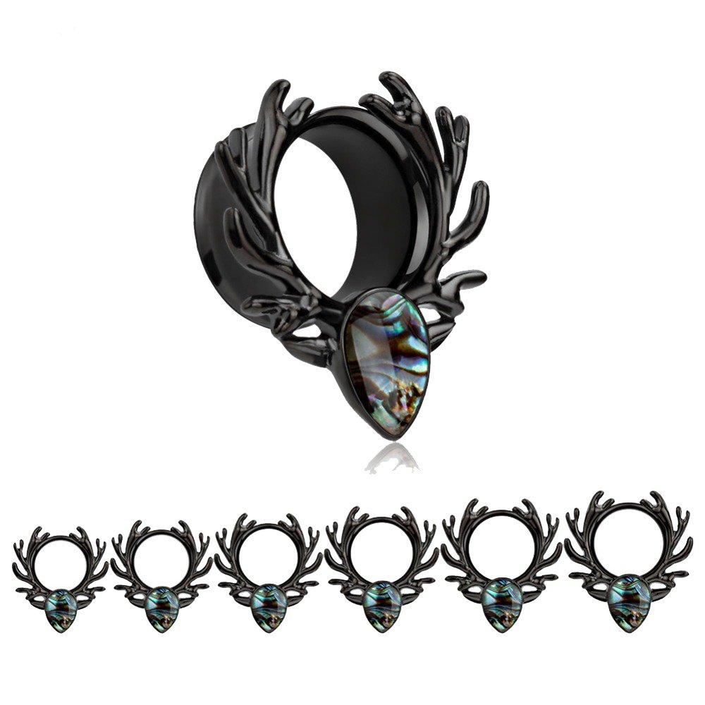 Bigbabybig Forest Antlers Man Women Opal Ear Plugs Tunnels Gauges Stretcher Piercings (Black 6mm=2g)