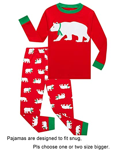 Toddler Girls Boys Pajamas Long Sleeve Polar Bear Print Top and Cute Red  Pants Children Sleepwear 3bc7f7e67