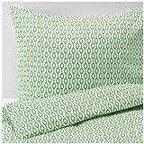 IKEA RÖDVED 掛け布団カバー&枕カバー ホワイト グリーン 150×200cm 50×60cm 90304342