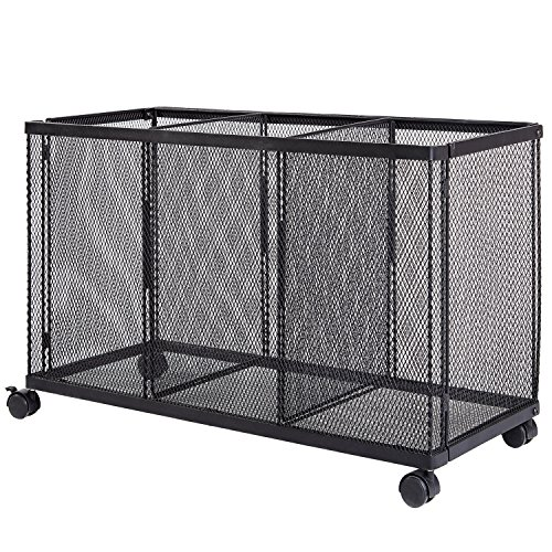 3 Compartment Rolling Metal Wire Mesh Organizer Cart with...