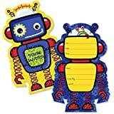 Robots - Shaped Fill-In Invitations - Baby Shower or...