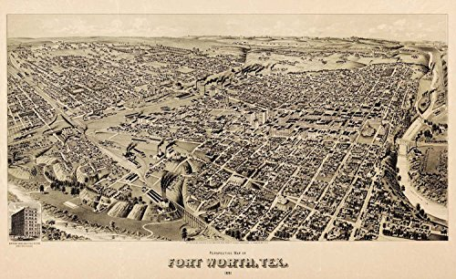 MAP FORT WORTH TEXAS 1891 VINTAGE LARGE WALL ART PRINT POSTER PICTURE LF2580