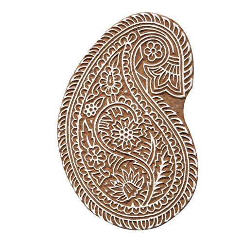 CRAFTSTRIBE Hand Carved Paisley Designed Wooden Printing Block Brown Wooden Textile Stamp