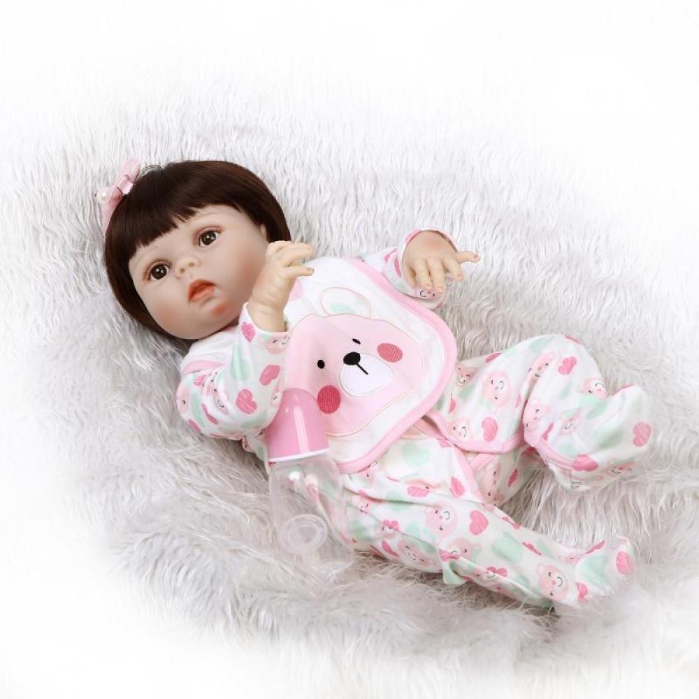 QXMEI Simulation Reborn Puppe Silikon Cute Baby Kann Das Wasser Spielzeug Kinder Kreatives Geschenk 57CM Eingeben