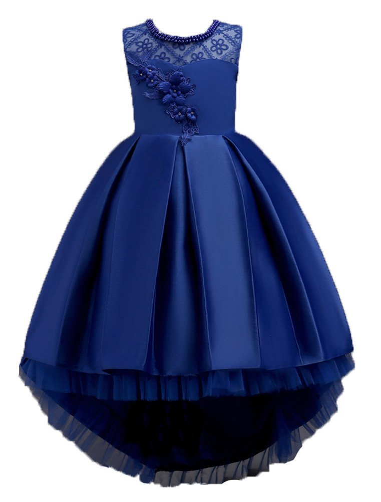 1c7b7d6cb Bridesmaid Dresses for Girls 10-12 Years Knee Length Size 7-16 Big Girls  Kids Children Lace Tulle Tutu Ball Gowns Ruffles Special Occasion Tops Royal  Blue ...