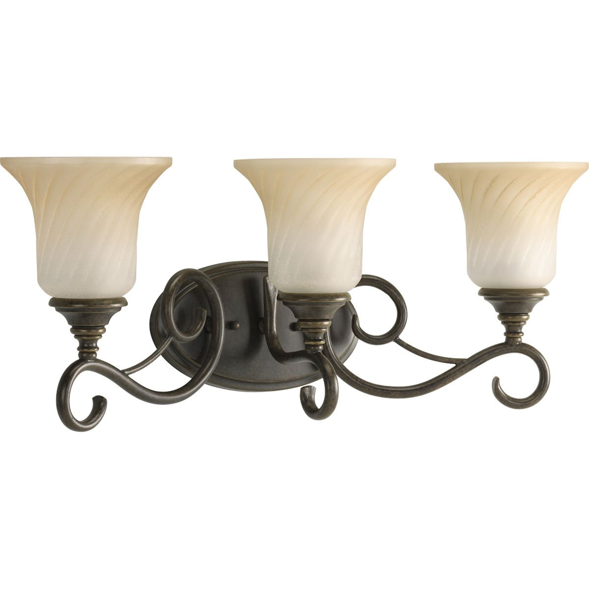Progress Lighting P2785-77 3-Light Bath Features Scrolled Metalwork with Trumpet-Shaped Textured Glass Shades, Forged Bronze