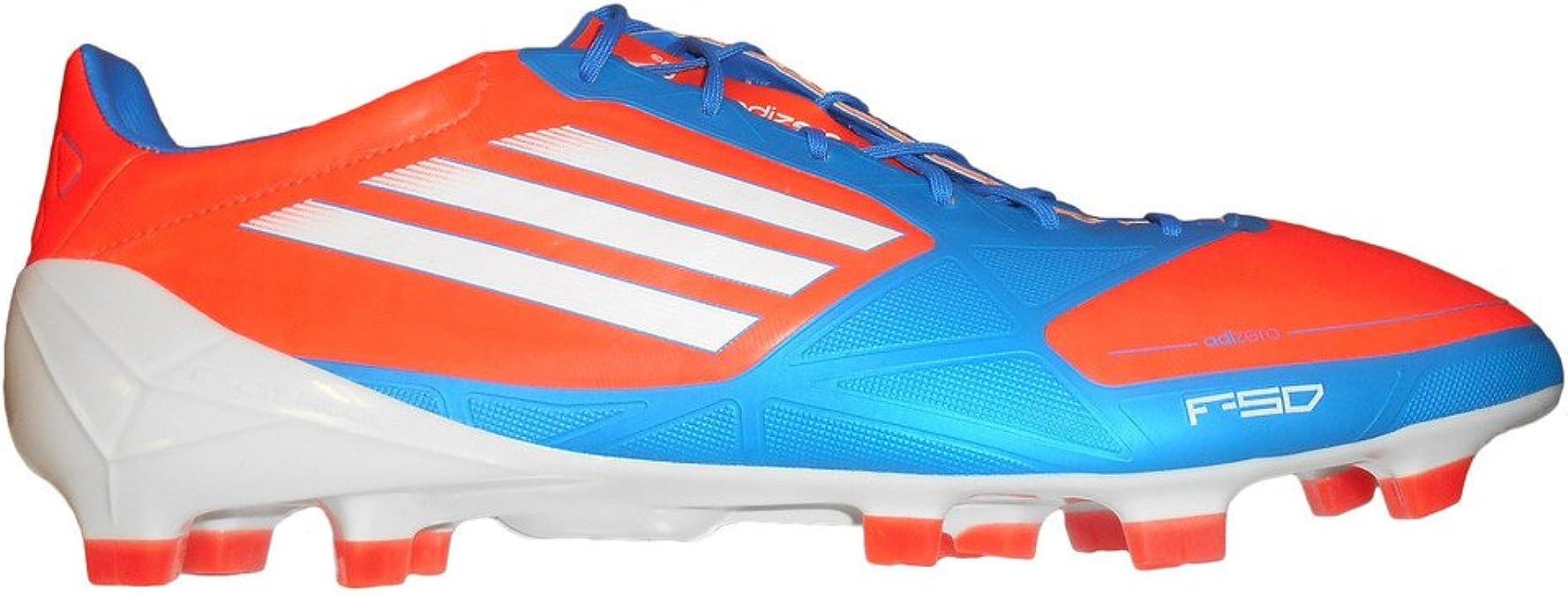 Adidas F50 Adizero TRX FG Syn Tacos de fútbol (12, infrarrojos / correr Blanco / azul brillante)