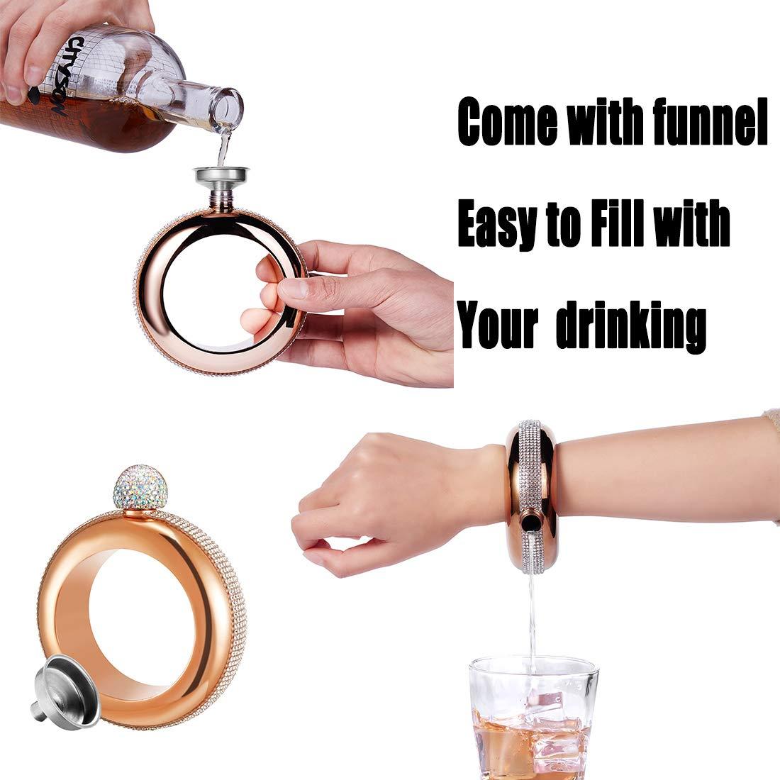 Rose Gold Stone Hillside-Kit Bracelet Bangle Flask Handmade Rhinestone Lid Stainless Steel Hidden Liquor Wine Flask Funnel Set Gift for Women Men Party Flask//Girls Cruise Sneak Flask Boozy 3.5 OZ