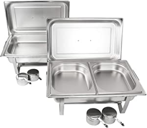 Alpha Living 8QT Chafing Dish Set with 2 Chafer, 2 Full Size Pan, 2 Half Pans High Grade Stainless Steel welded legs
