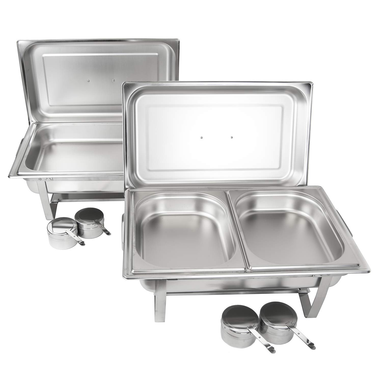 Alpha Living 8QT Chafing Dish Set with 2 Chafer, 2 Full Size Pan, 2 Half Pans High Grade Stainless Steel welded legs by ALPHA LIVING
