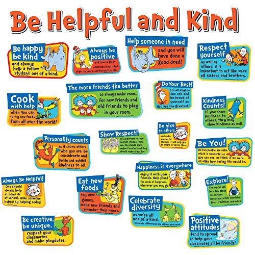 Seuss Bulletin Dr Boards - Eureka Back to School Dr. Seuss 'Be Helpful and Kind' Bulletin Board and Classroom Decorations, 23pc, 17'' W x 24'' H